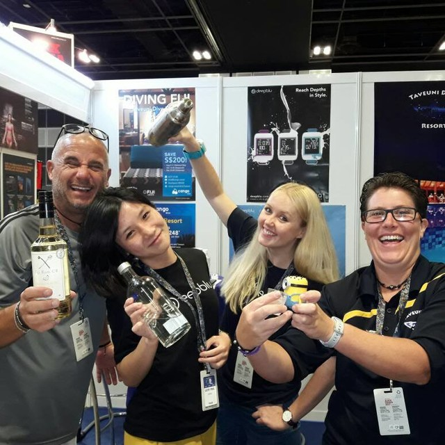 Having fun at ADEX2017 with the Deepblu and Taveuni Dive Resort Team. Thanks Madlen, Cathy and Heather!!!!@